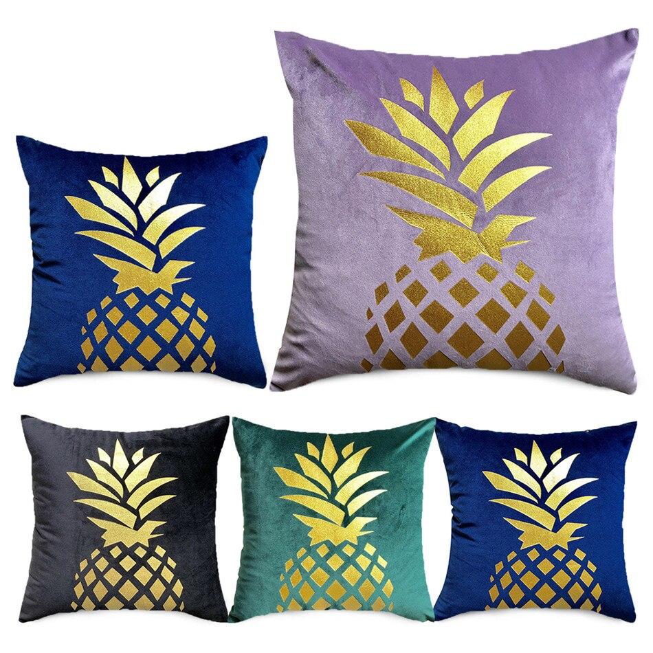 Gold Pineapple on Velvet Accent Pillow