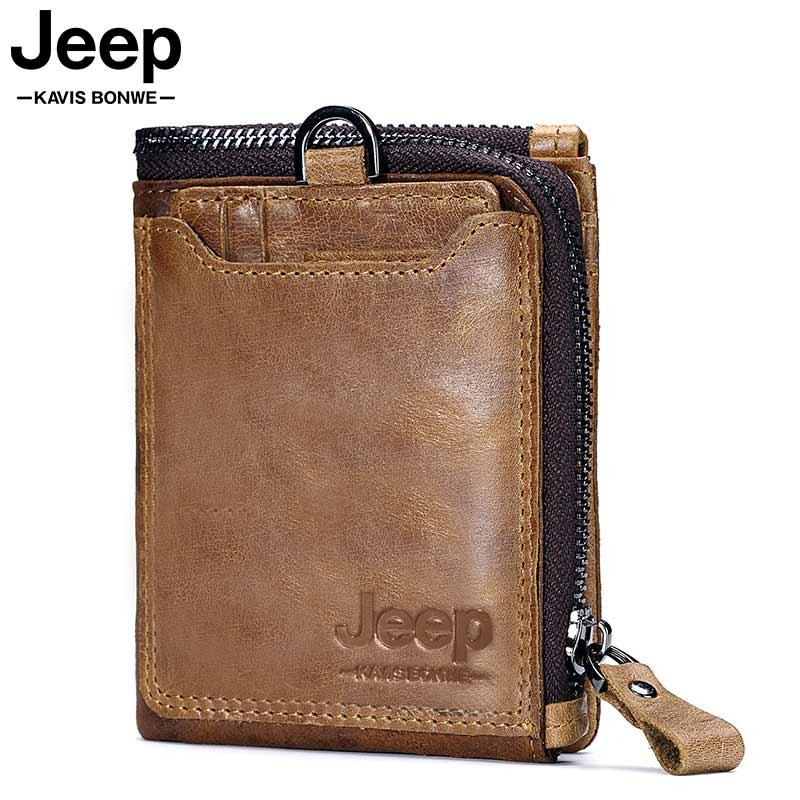 Crazy Horse Genuine Leather Men Wallet Coin Purse Card Holder Small Wallet Men Portomonee Male Clutch Zipper Clamp For Money