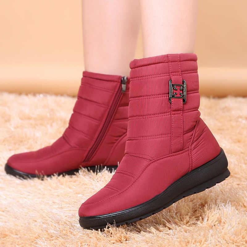 Kar botları kadın kışlık botlar artı kürk tutmak sıcak kadınlar ayakkabı kaymaz kadın botları yan fermuar su geçirmez ayak bileği patik artı boyutu