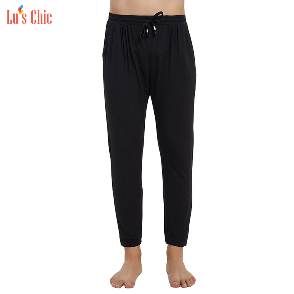 Lu's Chic Men Sleep Bottoms Tapered Stretch Nightwear Soft Sleepwear Casual Pajama Lounge Pants Jogger Trousers