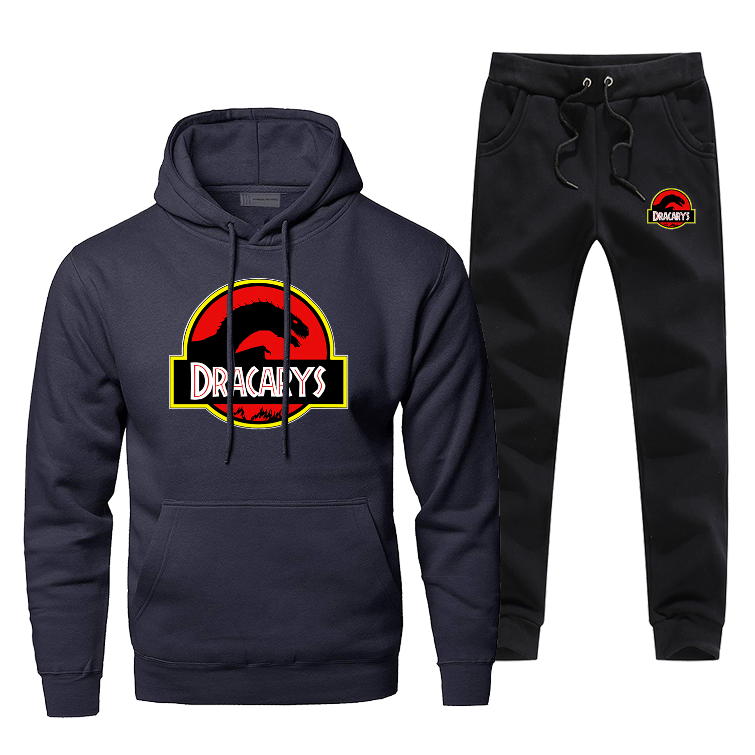 Game Of Thrones Dracarys Sweatshirt Hoodie Men Harajuku Vintage Hoodies+pants Sets Mens Casual Fleece Sportswear Sweatpants