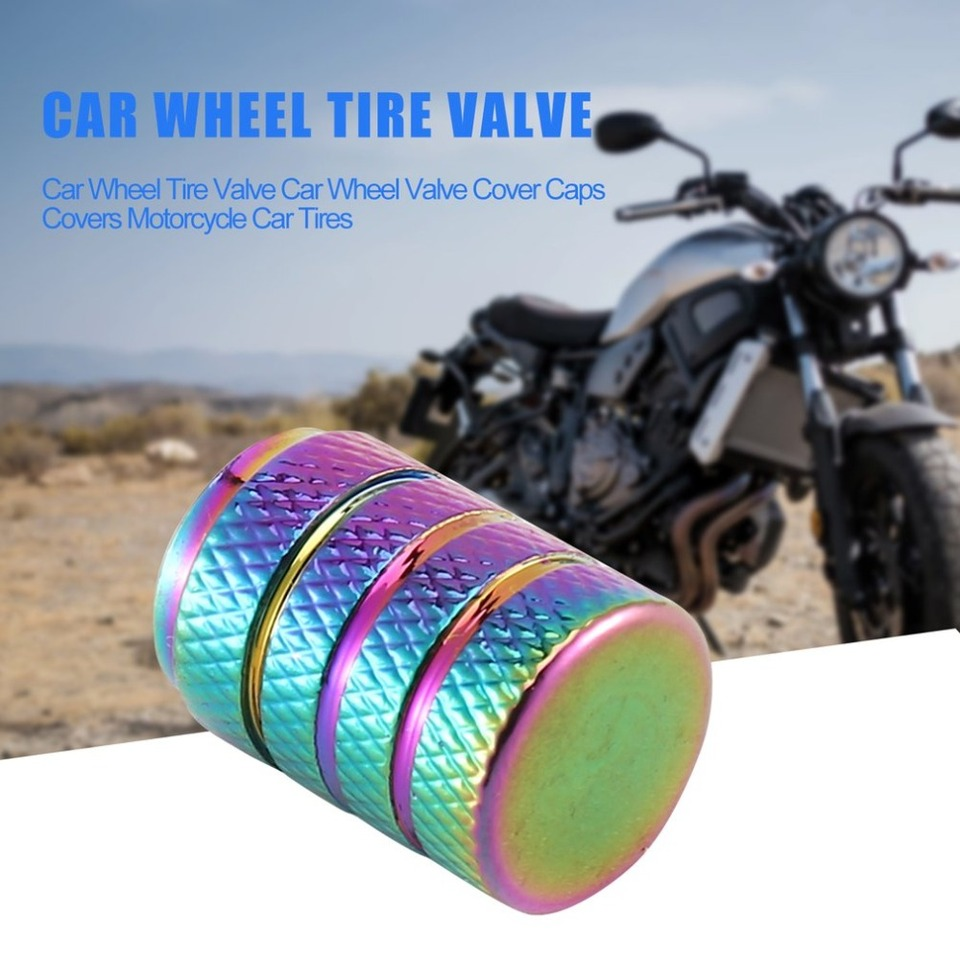 Rainbow Color 3 Groove Aluminum Style Car Wheel Tire Valve Car Wheel Valve Cover Caps Covers Motorcycle Bike Car Tires Styling Multicolor