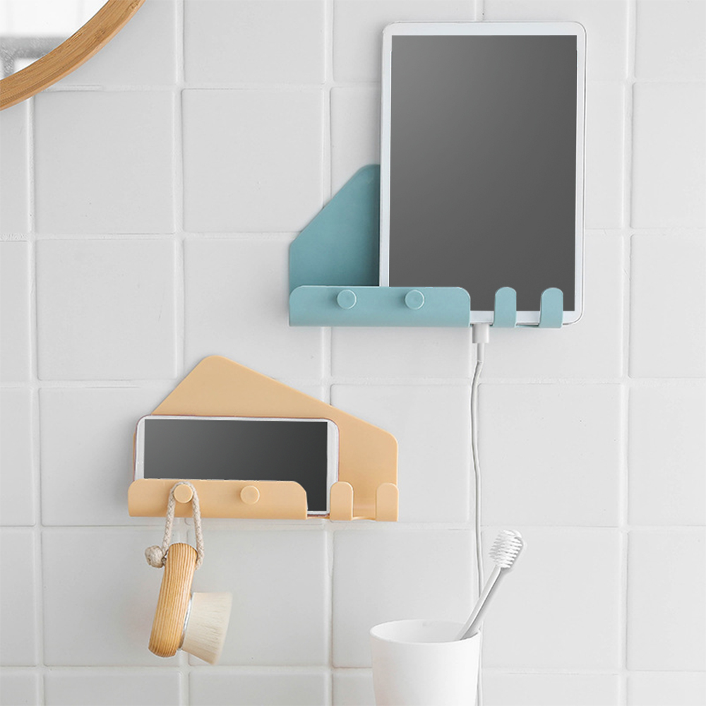 1PC Universal Wall Mounted 4 Hooks Charger Mobile Phone Holder Hook Hanging Cellphone Tablet Charging Stand Bracket