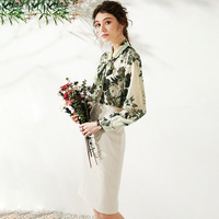 Office Ladies Tops and Skirt Two Piece Sets White Midi Pencil Skirts 2 Piece Outfits for Women Shirt French Green Floral Blouse