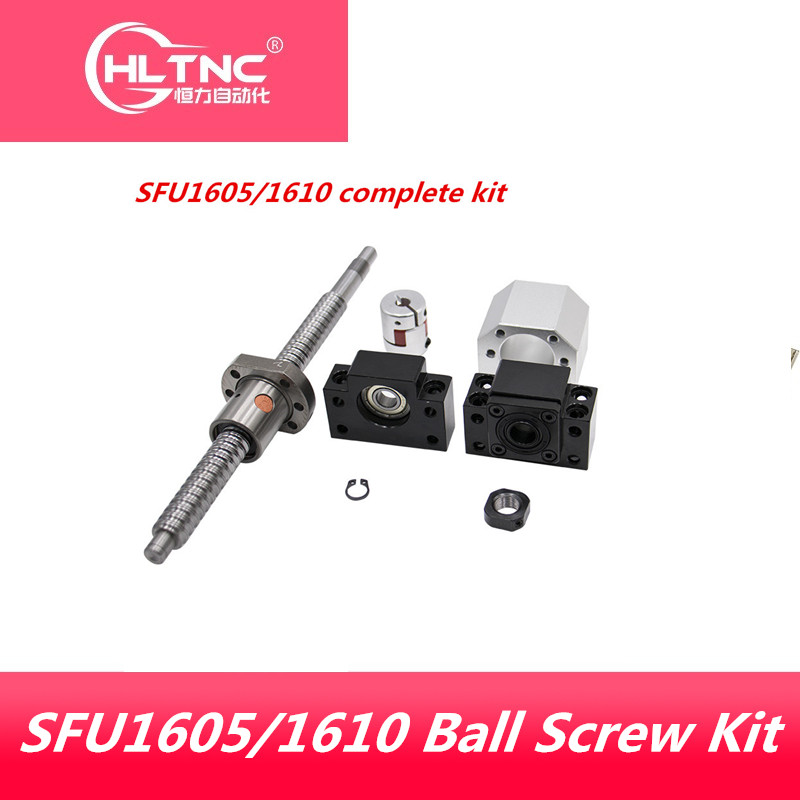 High quality ball screw SFU1605/1610 C7 with single ball nut BK/BF12 EK/EF12 FK/FF12 6001/7001 bearing end machined for CNC