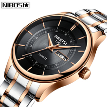Relogio Masculino NIBOSI Luxury Brand Mens Watches Full Steel Big Dial Sport Quartz Watch Fashion Waterproof Business Men Watch