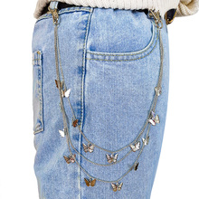 New Fashion Punk Street Butterfly Belt Waist Chain Male Women Pants Chain Multi Layer HipHop Hook Trousers Keychain Jewelry punk street keychain trousers pants chain for women men multi layer metal wallet belt chains hipster keyring hiphop jewelry