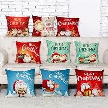 45*45cm funda de almohada Feliz Navidad Elk Santa Claus impreso algodón funda de almohada cuadrada decorativa Navidad funda de almohada poszewka