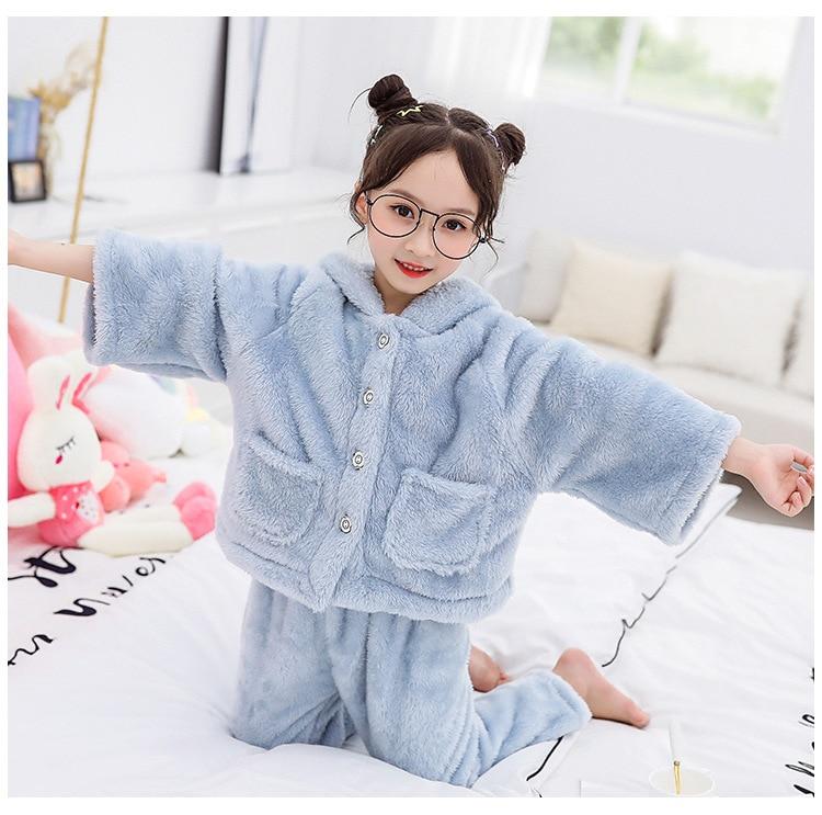 Children's   Pajamas   For Girls   Pajamas   Thick Double Sided Flannel Children Homewear Sleepwear Winter 8 10 12 Year Kids Pijamas   Set
