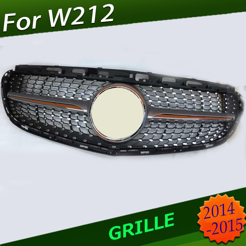 ABS Front Middle Grille Racing <font><b>Grills</b></font> Diamond Star For <font><b>Mercedes</b></font> E Class <font><b>W212</b></font> 2013-2015 image