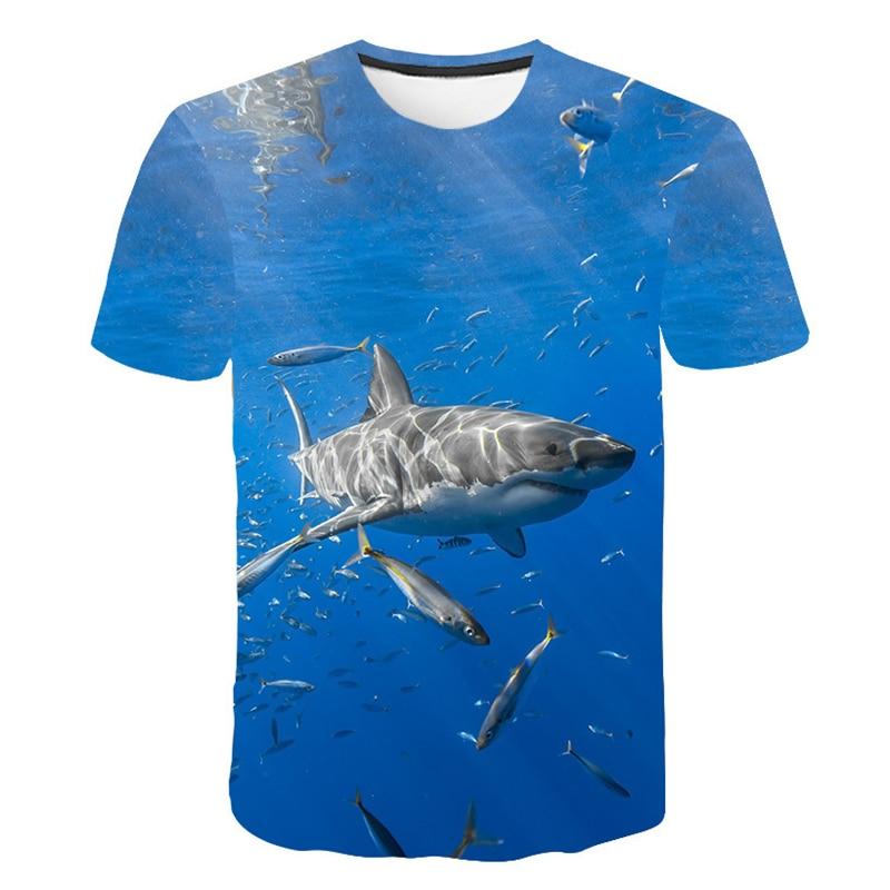 Fish 3d T-shirt Men Women Blue Sea Clothing Cool Blue Tops Hip Hop Streetwear Ocean T Shirts Harajuku Funny Fishing T-shirt