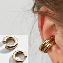 2020 modne i proste metalowe złoto kobiece klip na małżowinę ucho okrągłe Ear Cuff piękna dziewczyna biżuteria kolczyki