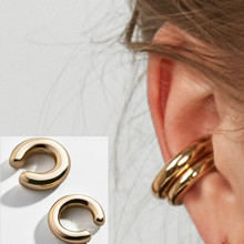 2020 Fashionable and Simple Metal Gold Female Cartilage Clip Ear Round Ear Cuff Beautiful Girl Jewelry Earrings