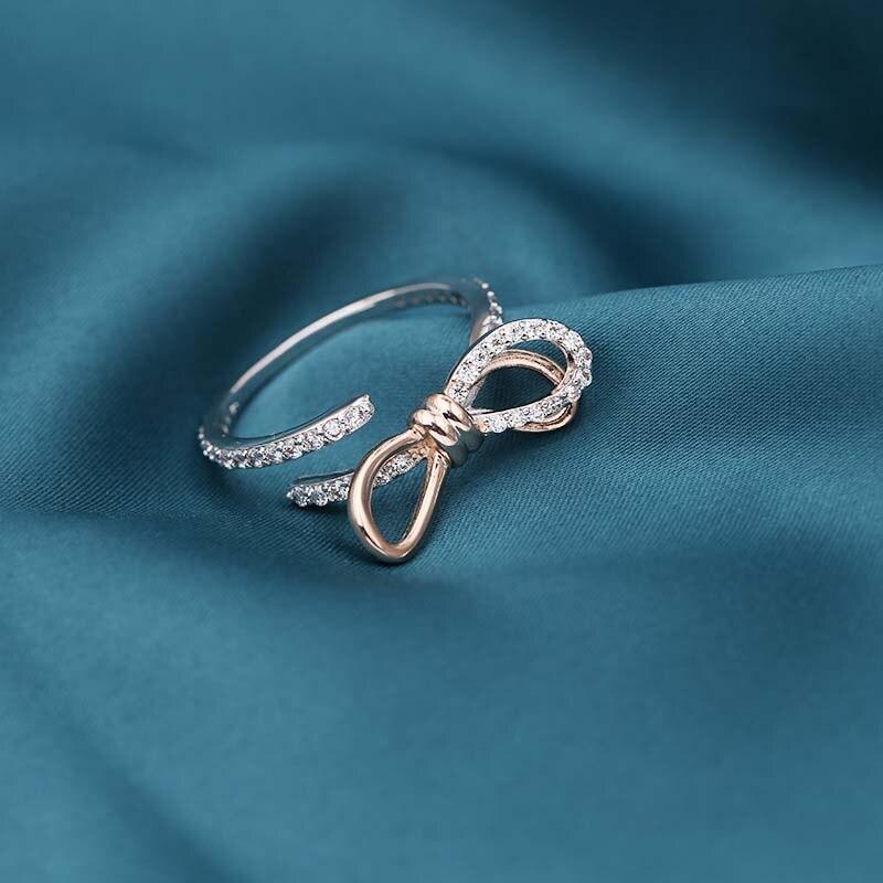 MISSFOX corée mode diamant bijoux pour femmes Bow ouverture bague bicolore couleur or Rose bague 2020 nouveau cadeau amant