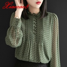 Chiffon Blouse Shirts Ruffled Tops Womens Clothing Long-Sleeve Pluse-Size Elegant Ladies