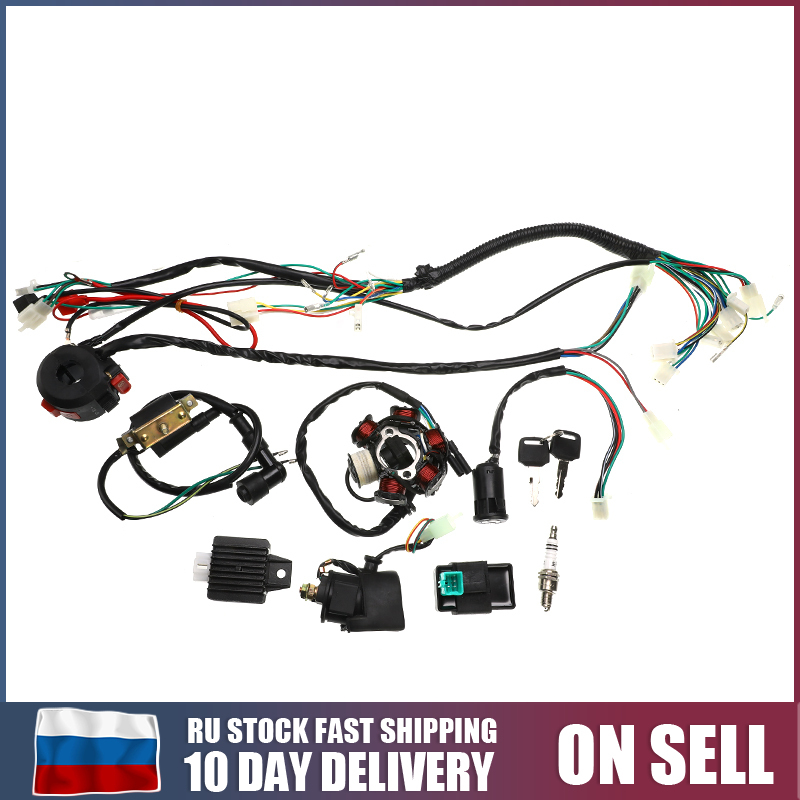 Motorcycle Electrics Wiring Harness CDI STATOR 6 Coil Pole Ignition Switch For ATV Quad <font><b>Pit</b></font> <font><b>Bike</b></font> Buggy Go Kart <font><b>125cc</b></font> 150cc 250cc image