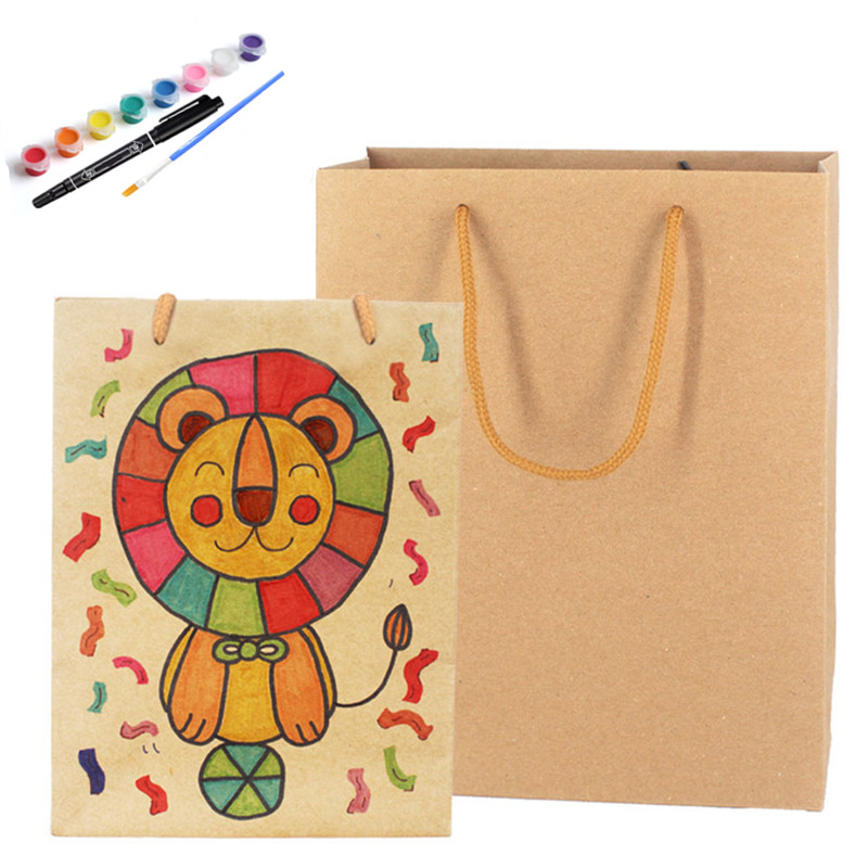 NEW 6PCS Kraft Paper Bag Creative Handicraft DIY Art Painting Toys Children's Painting Graffiti Material Science Gift Wrapping