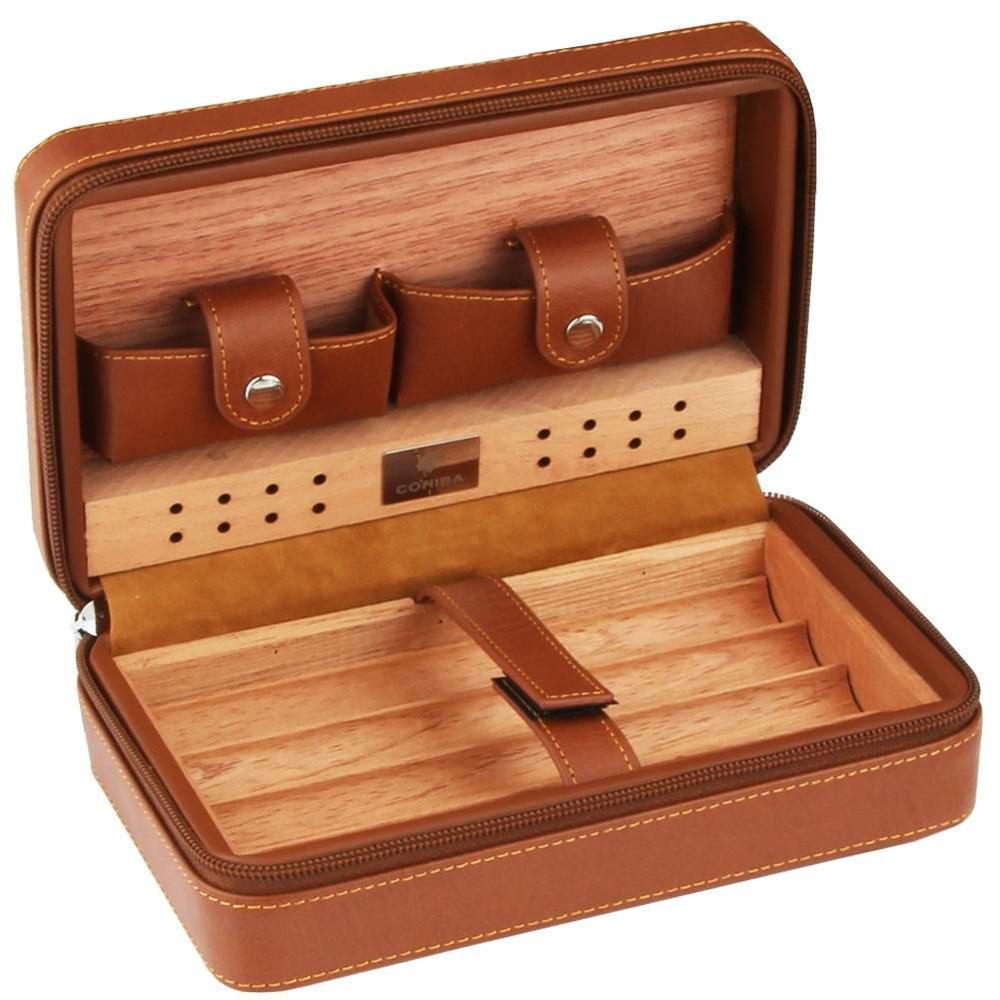 COHIBA Portable Cedar Wood Cigar Humidor Box Travel Leather Cigar Case Storage 4 Cigars Box Humidor Humidifier For Cuban Sigar
