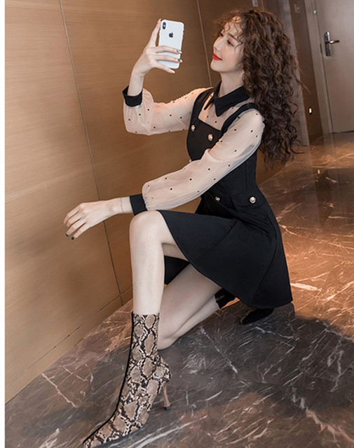 2021 spring and summer new dress Korean lapel French retro Hepburn little black dress mesh stitching slim slimming dress ins hot 6