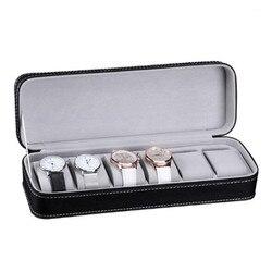 6 слотов из искусственной кожи коробка для часов Органайзер с замком или портативный дорожный Чехол На Молнии коллектор коробка для хранени...