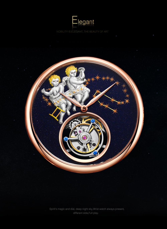 GUANQIN 2019 Real Tourbillon Mechanical Hand Wind Mens Watches Top Brand Luxury Gemini Clock men Gold Sapphire Relogio Masculino 15