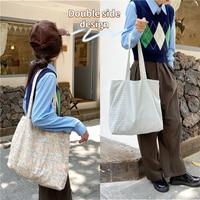 Cuadros Vintage Floral doble lado de las mujeres bolsa de compras Flor Retro señoras bolso de lona niñas estudiantes bolso bolsos