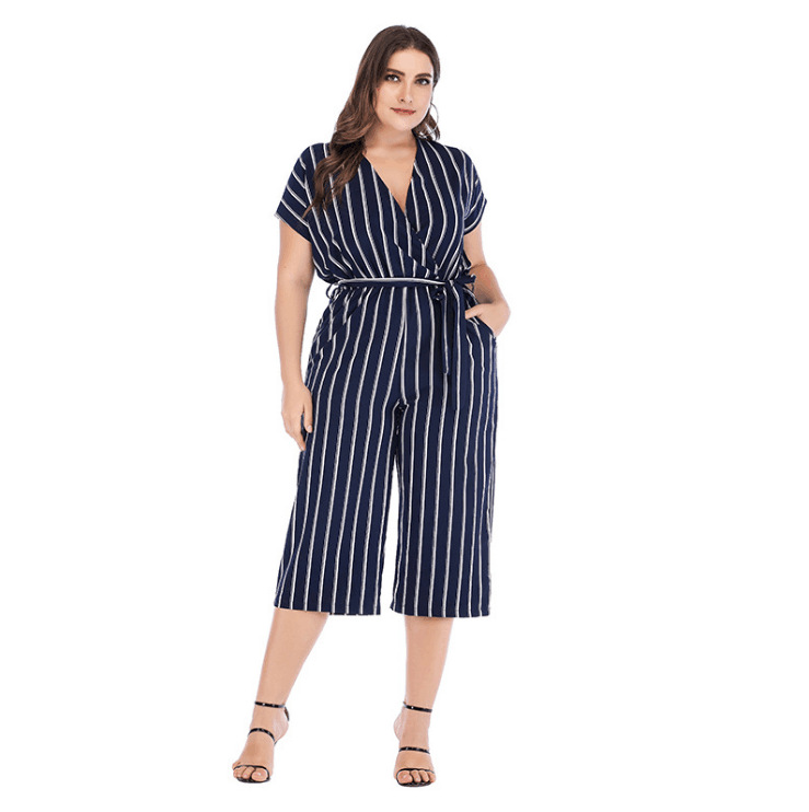 AliExpress Ebay2019 Hot Selling Short Sleeve V-neck Stripes Onesie Cross Border Large Size Lace-up Casual Onesie