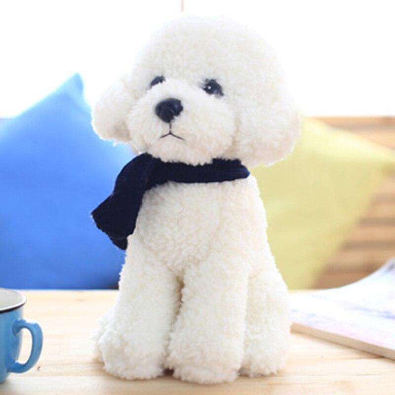 branco vida real animais de pelucia boneca bonito macio caes pelucia animais de pelucia brinquedos knuffels