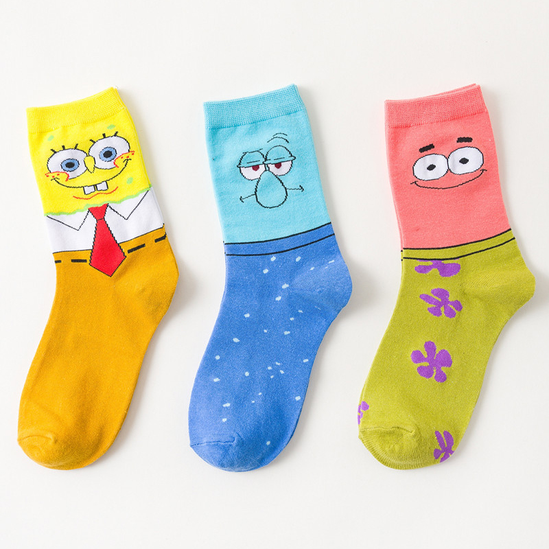 2019 New Socks Women Cotton Female Harajuku Fashion Cartoon Cute SpongeBob Print Pattern Funny Socks Street Hip Hop Style Soft