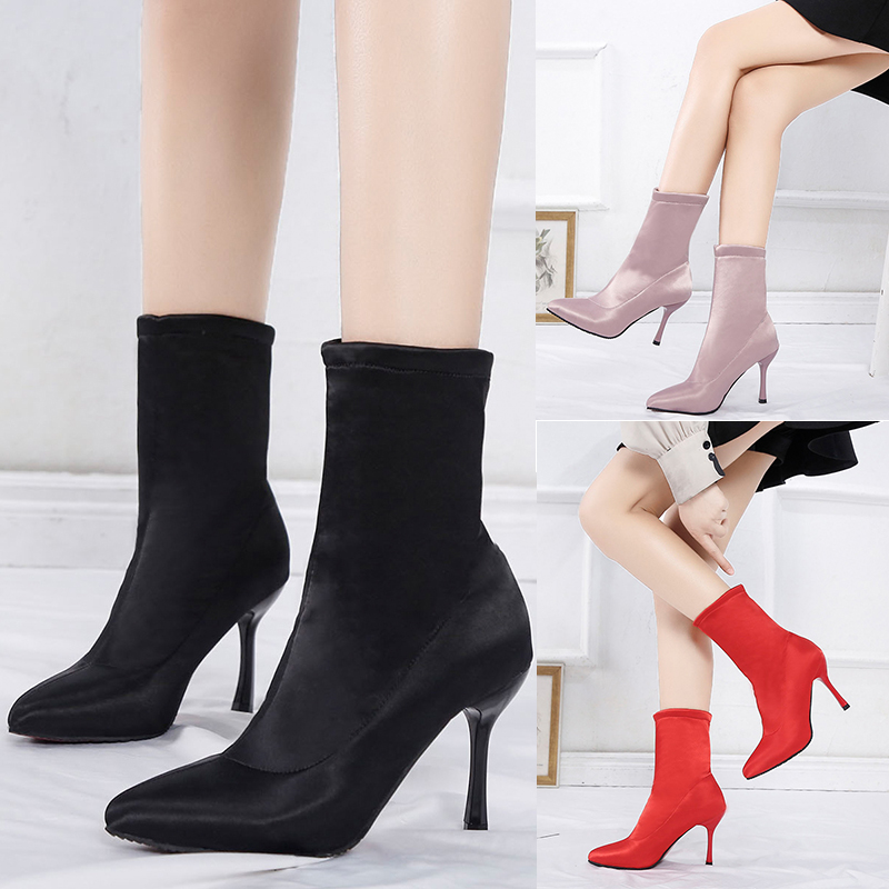 Image 3 - 2019 Sock Boots Winter Comfortable Womens Ankle Booties Fashion High Heel Shoes Ladies Party Wedding Boots Sock Keep Warm ShoesAnkle Boots   -