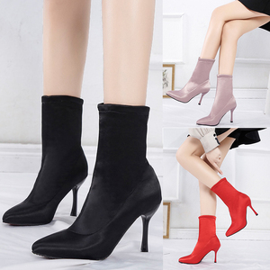 Image 3 - 2019 Sock Boots Winter Comfortable Womens Ankle Booties Fashion High Heel Shoes Ladies Party Wedding Boots Sock Keep Warm Shoes