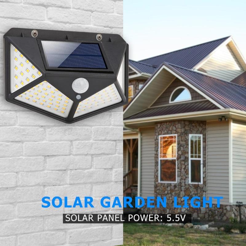 Novo branco quente 100 led luz solar sensor de movimento ipr luz de parede ao ar livre iluminação à prova dwaterproof água jardim lâmpada solar quintal lâmpada segurança