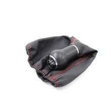 Para golf 3 mk3 preto prata tampa 5 e 6 velocidade 12mm costura vermelha vara botões de mudança de engrenagem do carro botão gaitor boot capa