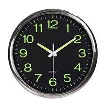 12 pouces moderne lumineux grande horloge murale à Quartz lueur dans le bureau de la chambre sombre