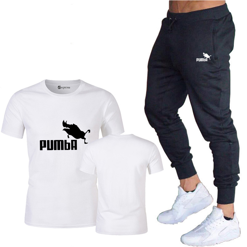 2020 Summer New T-shirt Men's 100% Cotton T-shirt Short-sleeved High-quality Boy T-shirt + Sports Fitness Pants Printed Letters