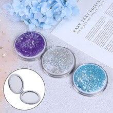 Mini espelho de maquiagem compacto de bolso, portátil, dupla face, dobrável, presentes femininos, com areia brilhante, espelho de maquiagem