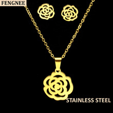 fengnee Gold Color Stainless Steel Sets For Women rose flower  Necklace Earrings Jewelry Set Wedding Jewelry a suit of graceful solid color flower necklace and earrings for women