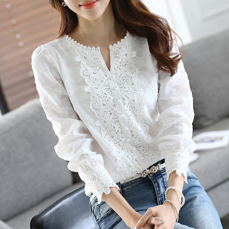 2020 Summer Women V-neck Chiffon Blouses Plus Size Full Clothing Long Sleeve Womens Tops Female Shirts Black White