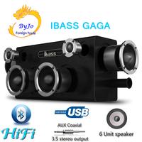 IBASS GaGa 70W Car Outdoor Home 6 unit Speaker Wooden Bluetooth Speaker TV Computer Cell Phone Audio Compatible Coaxial AUX USB