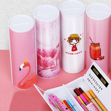 Boîte à crayons cylindrique multifonctionnelle créative multifonctionnelle, calculatrice 2020 rose bleu, papeterie scolaire, calculatrice porte stylo rose