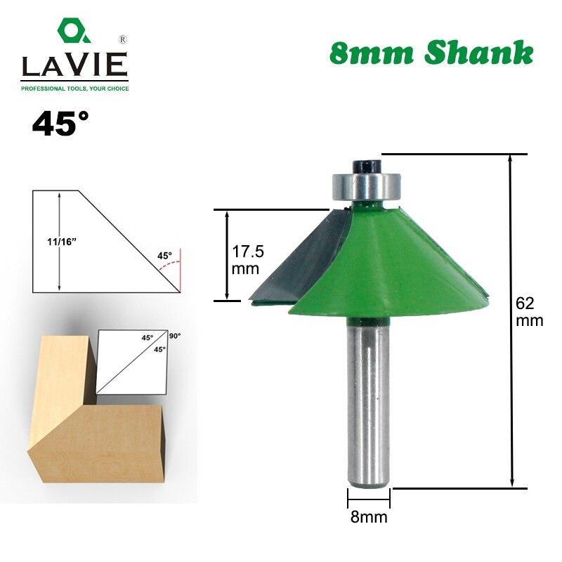 LAVIE 1pc 8mm Shank Chamfer Router Bit 45 Degree Bevel Edging Milling Cutter For Wood Woodork Machine Tools MC02110-45