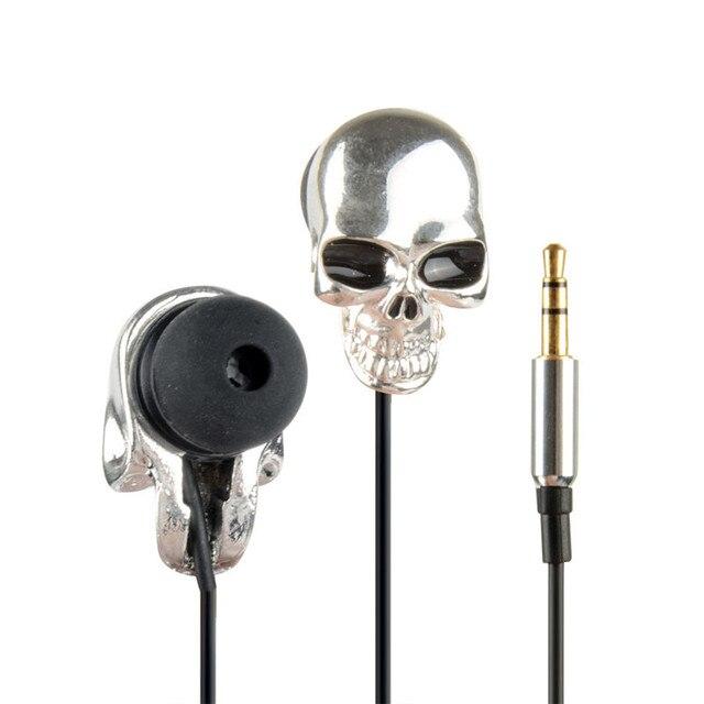 Écouteurs intra auriculaires pour téléphone stéréo basse casque tête de crâne 3.5mm Port métal filaire écouteurs pour Huawei Samsung Xiaomi SmartPhone