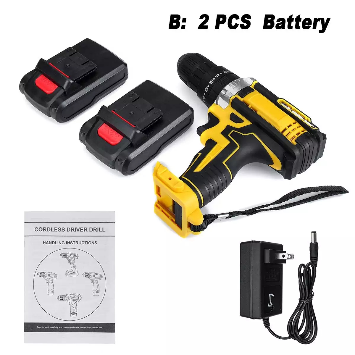 48V Drill 18 Tool 2 Screwdriver Adjustment Screw Variable Electric Battery Speed Lithium Hammer Drill Machine Impact Cordless