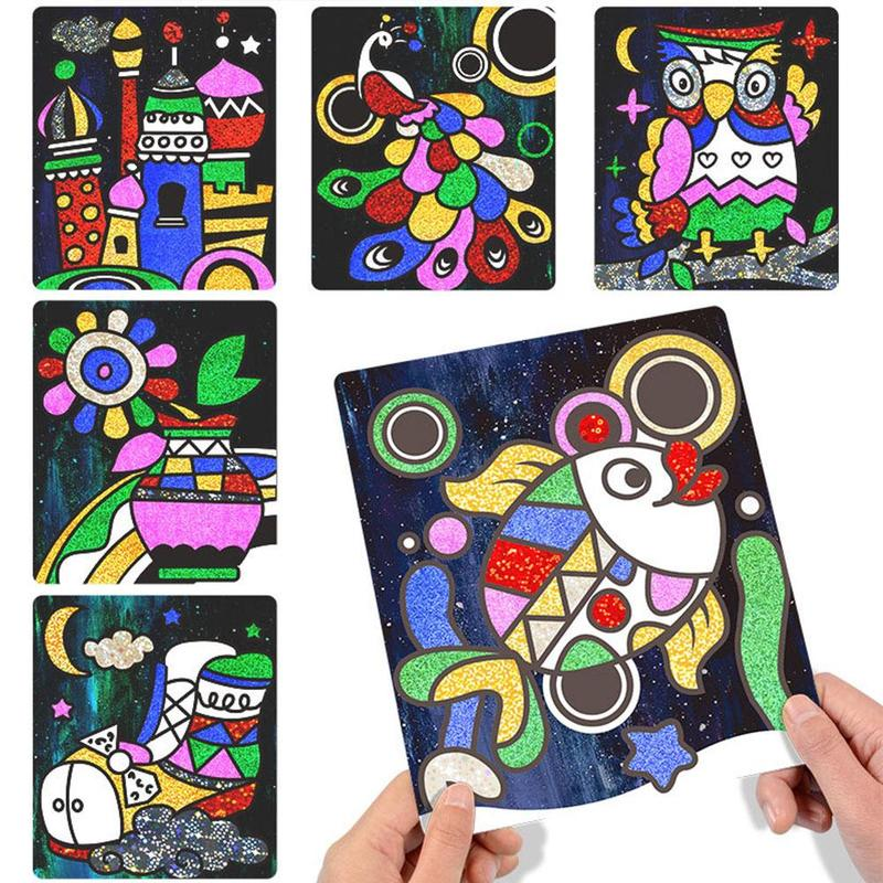 Children's Diy Shining Magic Art Sticker Transfer Colorful Sticker Painting Crafts For Kids Arts Crafts Creative Stickers Toys
