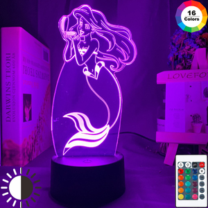 The Little Mermaid Princes Ariel Figure Baby Led Night Light Touch Sensor Colorful Nightlight for Girls Room Decor Table Lamp 3d(China)
