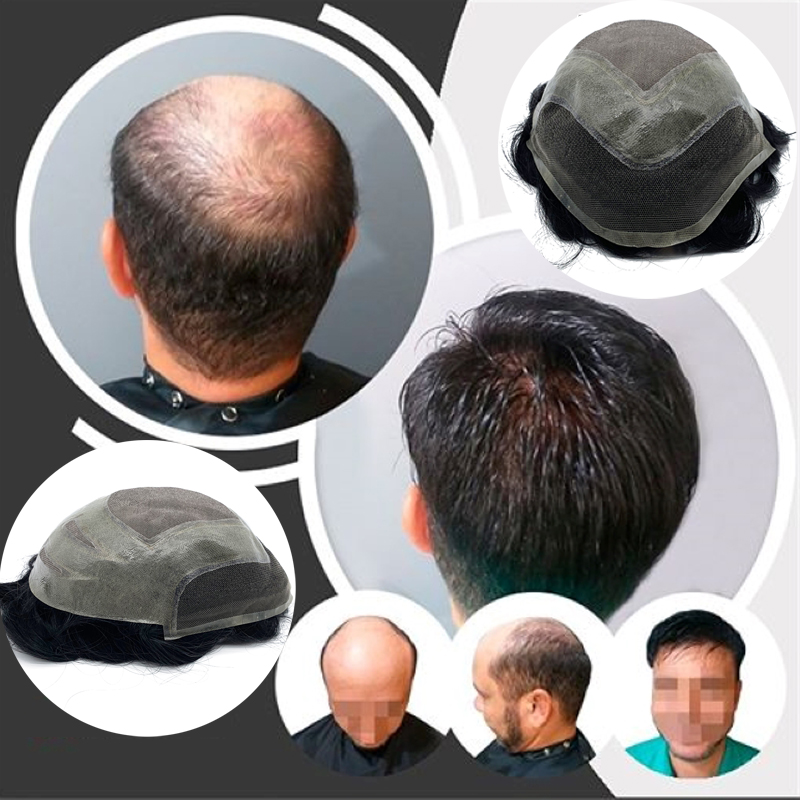 New Arrived Mono Lace Around Pu With Front Swiss Lace Men Wigs For Men Remy Hair Topper