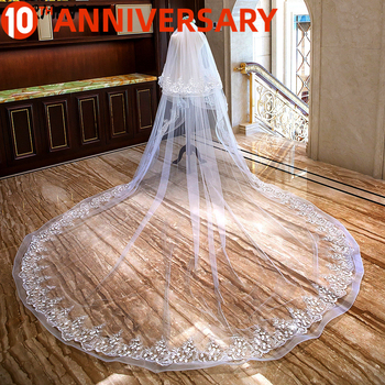 SERMEN Beaded New Veil 3 Meters Wide 4 Long Two Layers Elastic Side Circle Lace Wedding Accessories