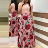 Two Pieces Dress Women Short Sleeve Robe Long Flower Floral Dress Fashion Long Women New Female Summer Beautiful A-Line Dresses 2
