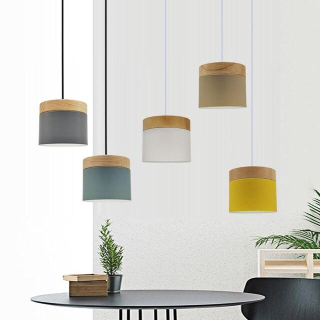 الحديثة قلادة Led تركيب المصابيح مع الخشب الحديد غرفة الطعام بار مقهى مطعم الشمال داخلي اسطوانة خشبية معلقة مصباح
