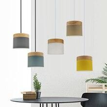 Đèn LED hiện đại Mặt Dây Chuyền Ánh Sáng Hình Gỗ Sắt Phòng Ăn Thanh Cafe Nhà Hàng Bắc Âu Trong Nhà Bằng Gỗ Hình Trụ Treo Đèn